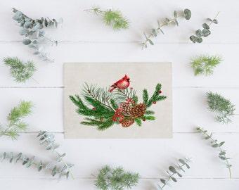 PRINTABLE art Pinecone Art Print Pine Cone Art Print Watercolor Christmas Decoration Holiday Decor Christmas Floral Red Cardinal Winter art