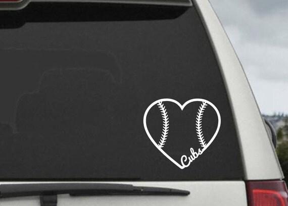 Chicago Cubs Baseball Heart Decal - Car Window Decal Sticker - Laptop Decal