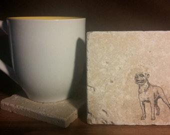 Set of 4 American Bulldog Tumbled  Stone Coasters