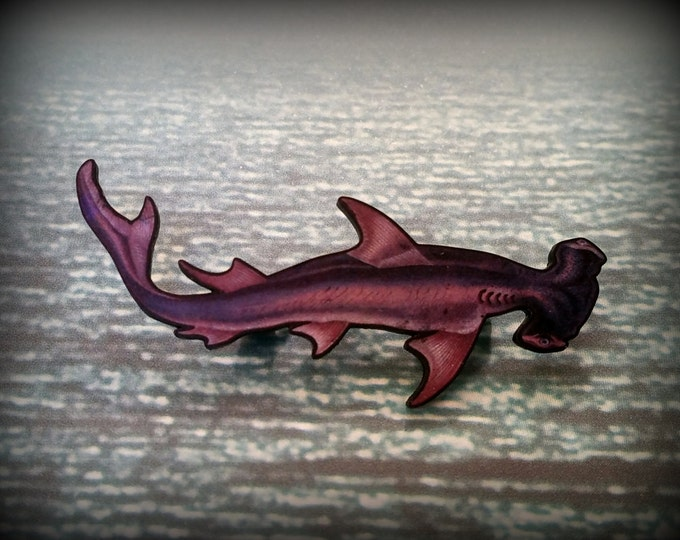 Hammerhead Shark - Hammerhead Pin - Hammerhead Brooch - Shark Lover - Wear Your Shark - Pet Shark - Hipster Fashion - Plastic Pin - Art