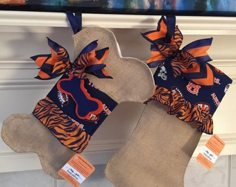 Auburn Burlap Christmas Stocking/ War Eagle