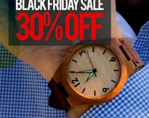 BLACK FRIDAY 30% TREE Hut Personalized Minimalist Engraved Wooden Watch Genuine Leather, Mens watch, Groomsmen gift, Wood Watch Bamboo Watch