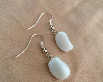 White Bead Silver Earrings