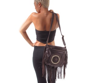 Boho fringed Leather bag, bohemian leather purse, Keong bag