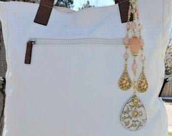 Teardrop lace and peach purse charm