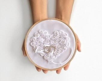 EXPRESS SHIPPING, Ring Pillow Alternative, Ring Bearer Pillow, Ring Holder, Ring Hoop, White Rose, Ring Pillow, Rustic Wedding, Boho Wedding