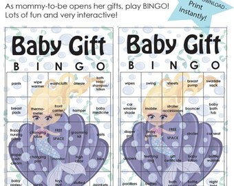 20% OFF- Baby Shower Game, Baby Gift Bingo, Mermaid, Under the Sea Theme, INSTANT DOWNLOAD