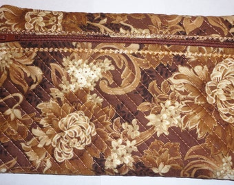 brown tones quilted cosmetic bag