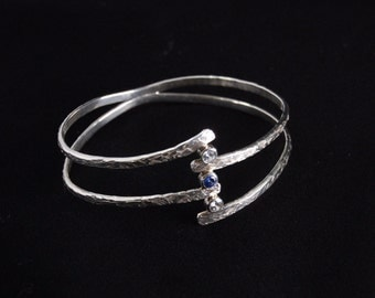SIlver and cz Hammer Textured Bracelet