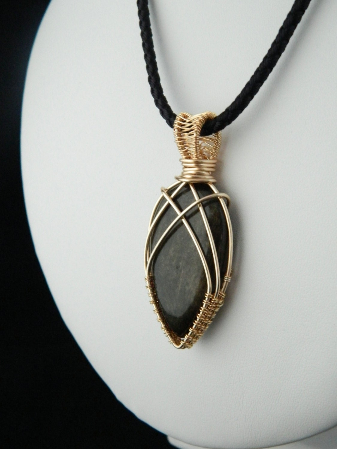 Golden Obsidian Pendant Wire Wrapped Pendant Genuine