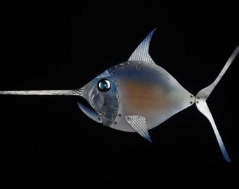 SWORDFISH swordfish from hanging, furnishing design, sculpture, wall sculpture, recycling art, wood furniture, animal art