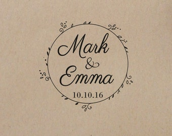 Wedding  Stamp Wreath Personalized Wedding  Initial Stamp  Wedding Rubber Stamp Self inking Stamp