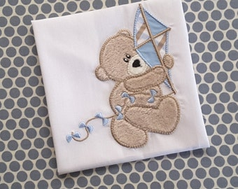 Baby Applique Machine Embroidery Design Kite Bear