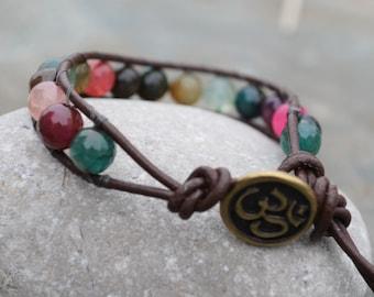 Gemstone wrap bracelet, leather bracelet, OM, Aum yoga bracelet, single wrap, colourful agate, yoga jewelry, boho bracelet