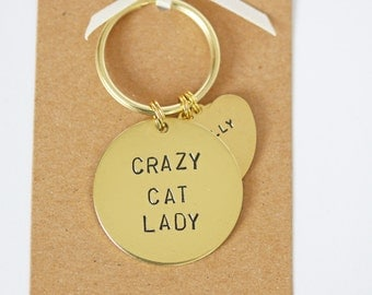 Crazy Cat Lady Keyring, Personalised with cats name(s) cat lover gift
