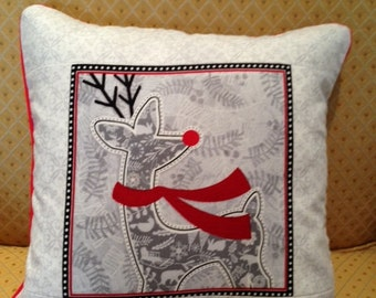 Grey, Red, White Reindeer Pillow Cover