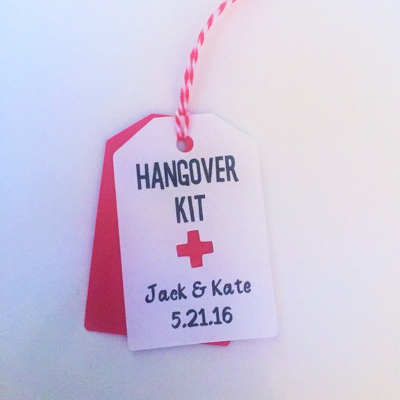 Hangover Kit Tags, Hangover Kit Wedding Favor Tags, Custom Favor Tags