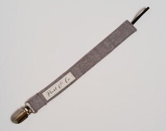 Pacifier Clip: Gray Linen - Pacifier Clip Boy - Baby Boy Paci Clip - Gray Pacifier Clip - Gray Binky Clip - Binky Clip Boy - Pacifier Holder