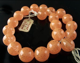Vintage Japanese speckled tangerine glass rounds. 8mm Pkg of 6. b11-yo-0951(e)