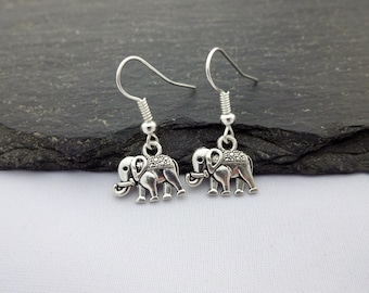 Elephant Earrings, Charm Earrings, Silver, Elephant Gift, Elephant Jewellery, Elephant Charms, Gift For Her, Elephant Jewelry, Gifts