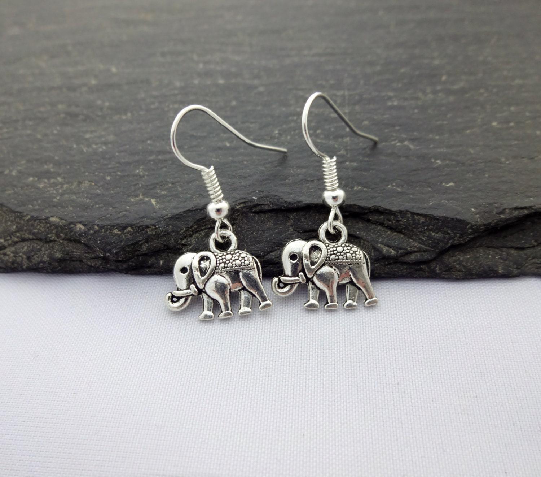elephant earrings charm earrings silver elephant gift
