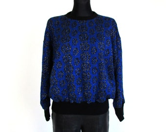 Vintage 80's 90's Blue Black Lurex Flower Rose Print Sweater Made in Italy Size L