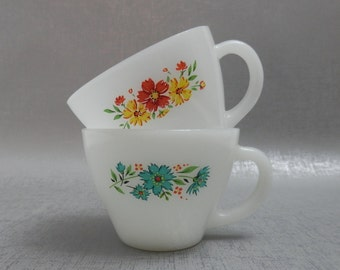 Flower FireKing Teacups set of 2