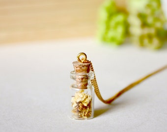 Bottle / necklace / yellow / Gift for her, Real Flower Jewelry, Miniature Bottle, Real Flower Necklace, Cool Necklace, Terrarium Necklace