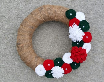 CLEARANCE READY to SHIP Rustic Natural Burlap Wreath