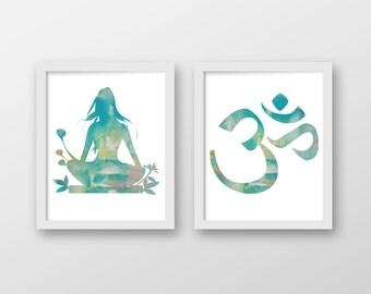 Meditation Watercolor Art Print Set - Yoga Art - Om Art - Set of 2 Prints