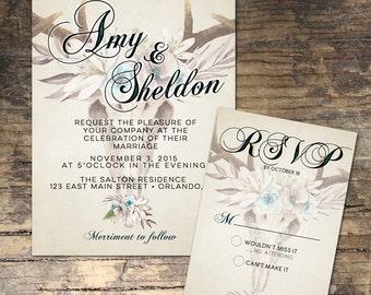 Rustic wedding invitation, Printable wedding invitation, rustic floral wedding, antler wedding invitation, Set4 Collection