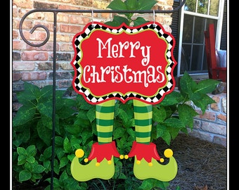 READY TO SHIP Christmas Garden Flag Christmas Yard Flag Christmas Tree Garden Flag Elf Yard Flag Elf Garden Flag Personalized Garden Flag