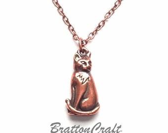 Copper Cat Necklace -  Sitting Cat Necklace - Cat Charm Necklace - Cat Necklace - Cat Jewelry - Cat Lover - Epsteam