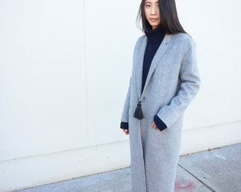 Minimalist fashion / Ring detail / Long Length Double-sided Cashmere Coat Handmade / JL002A Handmade cashmere coat / Lazy Cozy Easy