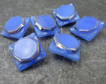 Blue German Glass Buttons With Silver Detail // Set Of 6 Glass Buttons // Vintage Blue Glass Buttons // Glass Metallic Trim Buttons