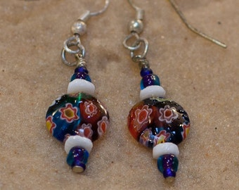 Blue Glass Flower Bead Earrings (PJV)