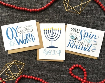 Hanukkah Card Set of 6 - Holiday Card Set, Chanukah Card Set, Funny Hanukkah Card Set, Happy Hanukkah Card Set