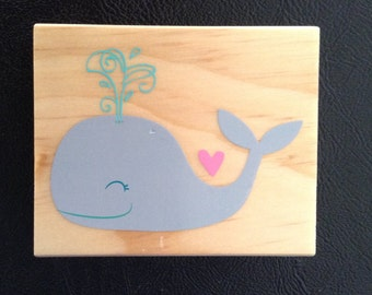 Whale Rubber Stamp, Rubber Stamp on Wooden Block, Nautical Theme, Scrapbooking, Card Making