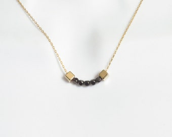 Beautiful, Gold and black, Beads, Necklace, Modern, Gold, Black, Gun metal, Square, Necklace, Lovers, Best friends, Mom, Sister, Gift