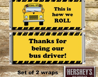 Full Sized Candy Wrapper - Bus Driver Appreciation, Bus Driver Gift, Bus Driver Thank You, Gift under 10, End of School Gift