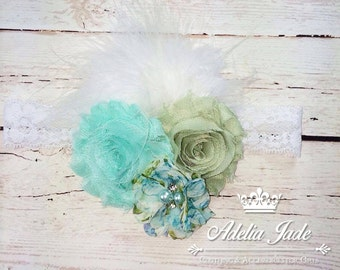 White Lace Baby Headband, Turquoise, Sage Flower Baby Headband with Marabou Feather, Flower Girl Headband, Baby Headband, Lacy headband