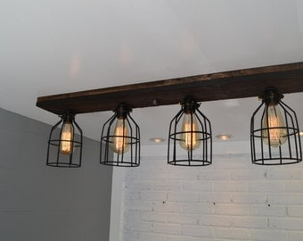 Flush Mount - Wood Light - Wood ceiling light - Reclaimed - Reclaimed Wood - Light Fixture - Home Decor - Wood Fixture - Barn Lighting