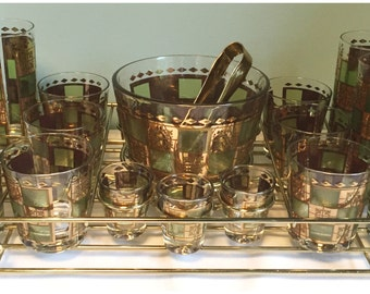 Vintage Mid Century Hollywood Regency Barware With Cady, Matching Ice Bucket, Shot Glasses And Glassware.