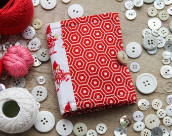 red&white needlebook/ red pixies needle book/ white red floral sewing kit/ fully equipped sewing organiser/ travel sewing kit for a girl