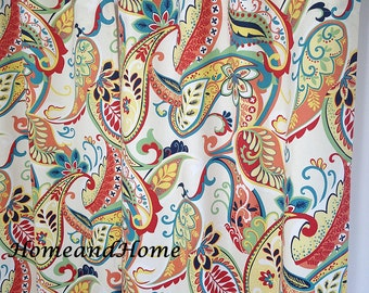 Paisley Curtains Drapery Panels Window treatment Cafe curtains Covington Whimsy Paisley Multi navy yellow red turquoise Ivory 25W 2 panels