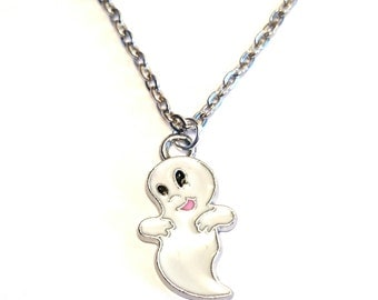Casper the Friendly Ghost Necklace, Ghost Charm, Ghost Pendant, Ghost Jewelry, Halloween Necklace, Halloween Jewelry, Fantasy Necklace