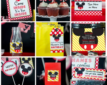 Mickey Mouse Party Decorations INSTANT DOWNLOAD - Mickey Mouse Birthday Party by Printable Studio