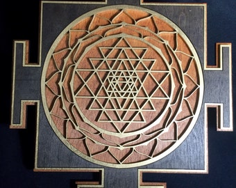 """Sri Yantra 12"""" Wall Art-2 Layered, Square, Stained black, and gold on a red stained base"""