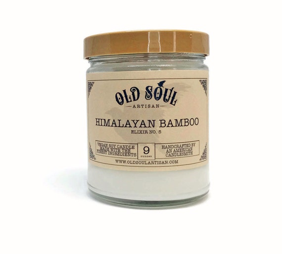 Himalayan bamboo soy candle vegan candle hand poured soy for Spa smelling candles