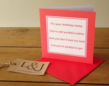 Sister birthday card - funny card best friend - mom card - gift idea for sister - happy birthday - getting old - gin - alcohol card - friend